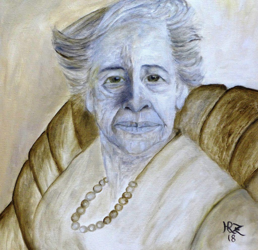 """Titel """"Hannah Arendt, Politische Philosophin"""" , Öl auf Lw, 40x40cm, von Hanna Rheinz"""