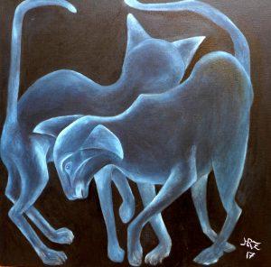 Titel: Vorbei Gehen, Öl auf Leinwand, 50x50cm von Hanna Rheinz