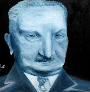 """Titel: """"Wise Guy vor dunkler Wand"""" (Heidegger) Öl auf Karton, canvas panel, 30x30cm  by Hanna Rheinz"""