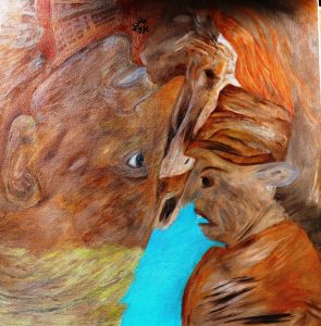 Turn! One painting two perspectives oil on canvas by Hanna Rheinz