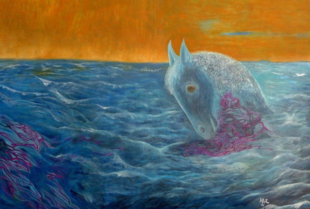 Meer, verloren, oil on canvas, 81x116cmby Hanna Rheinz 2021